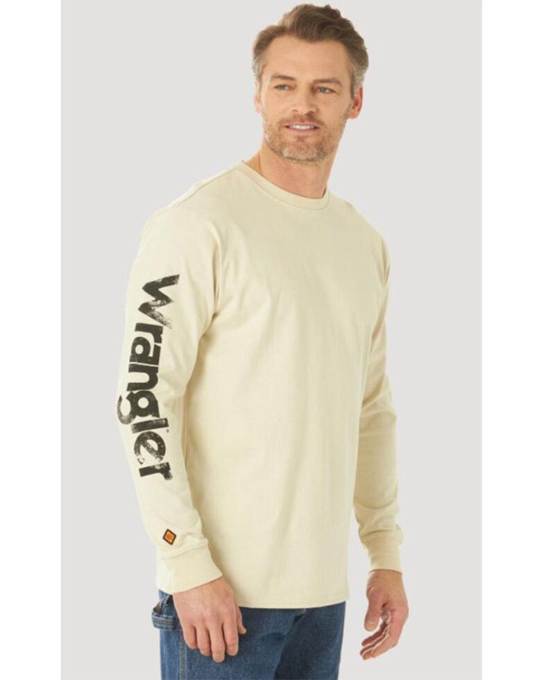 Wrangler FR Men's Lineman Flag Logo Graphic Long Sleeve Work T-Shirt , Sand, hi-res