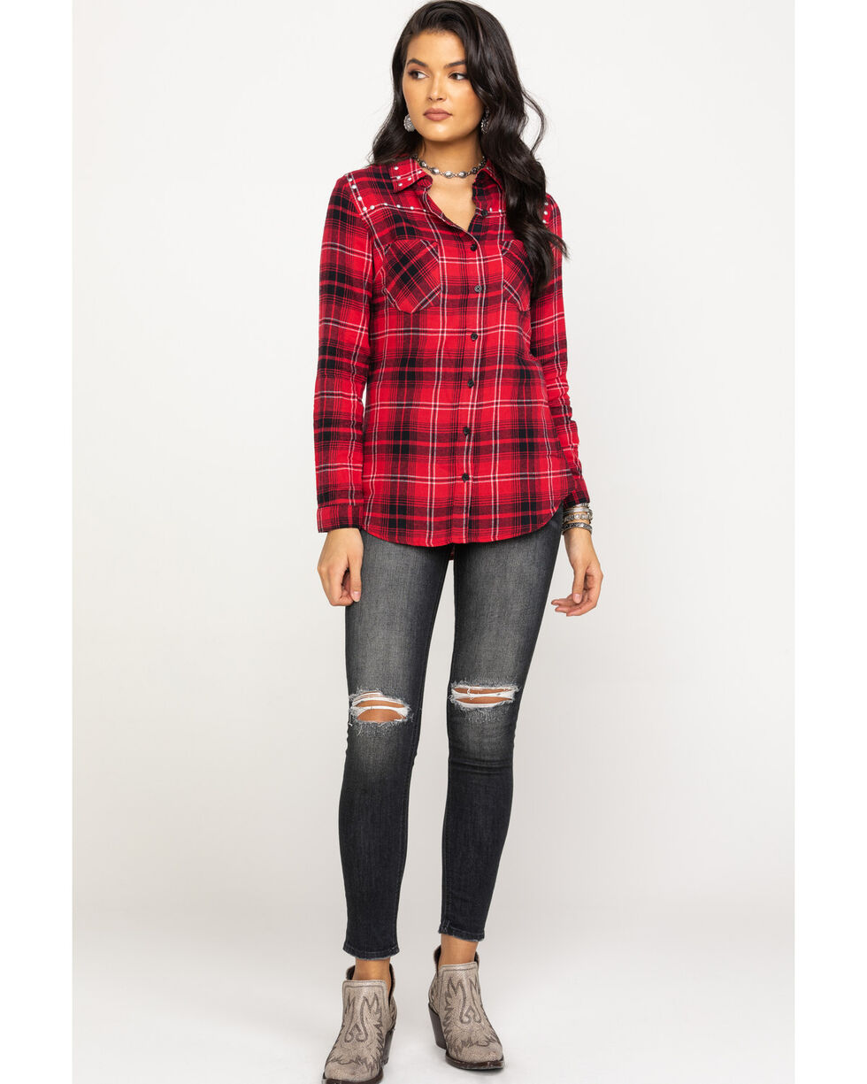 Derek Heart Women's Red & Black Studded Flannel Shirt, Red, hi-res