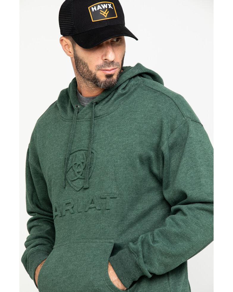 Ariat Men's Dark Forest Heather Fleece Branded Hooded Sweatshirt , Green, hi-res
