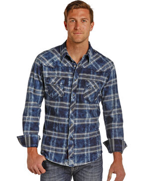 Rock & Roll Cowboy Men's Bleach Washed Plaid Shirt , Blue, hi-res