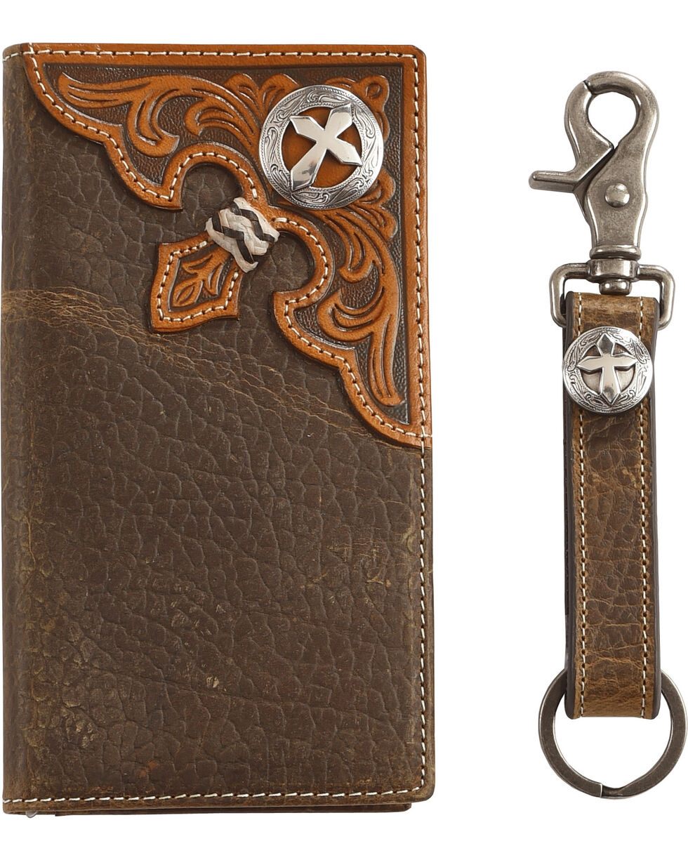 Cody James Men's Leather Concho Wallet with Key Fob Gift Set, Brown, hi-res