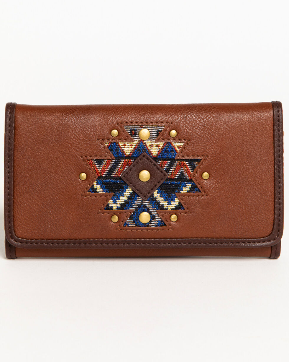 Shyanne Women's Aztec Inlay Wallet, Brown, hi-res