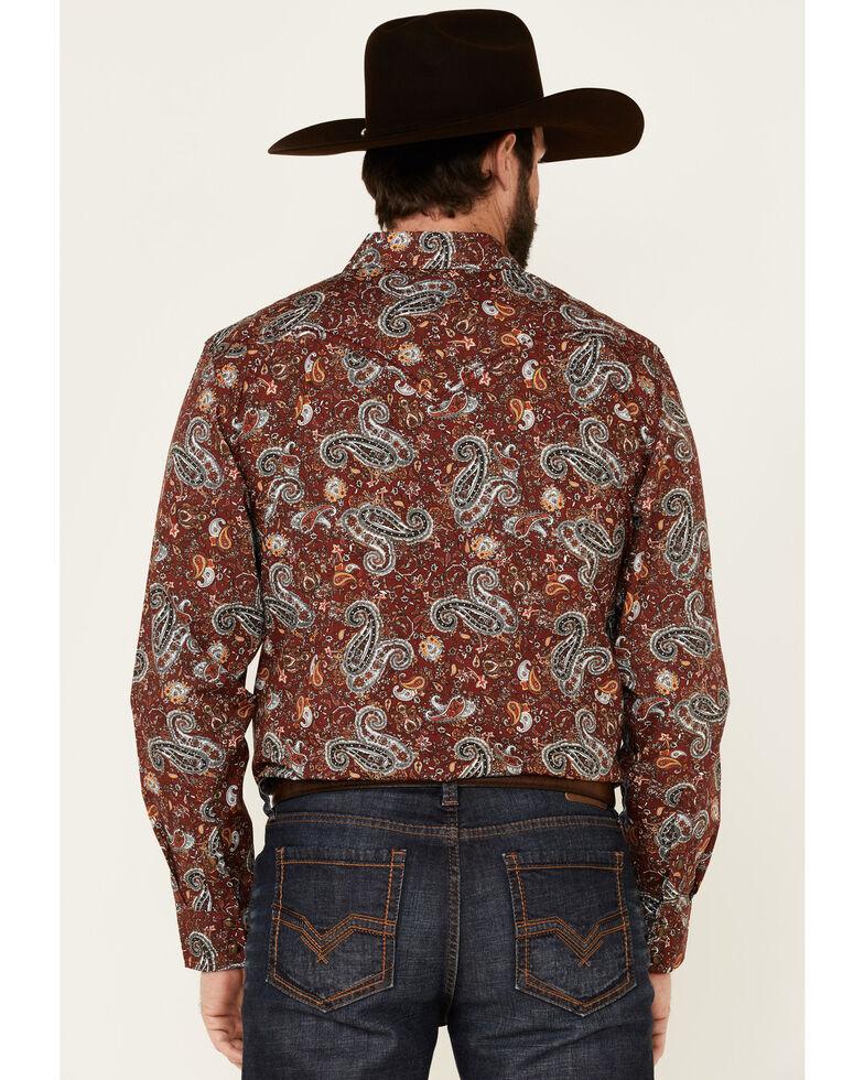 Cody James Men's Wild Ride Paisley Print Long Sleeve Western Shirt , Burgundy, hi-res