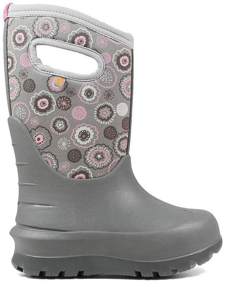 Bogs Boys' Grey Neo-Classic Bullseye Winter Boots - Round Toe, Grey, hi-res