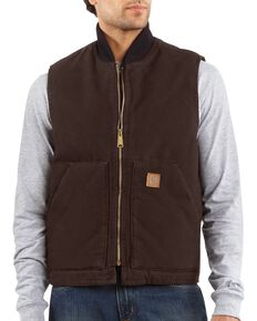 Carhartt Men's Sandstone Arctic Quilt Lined Vest, Dark Brown, hi-res