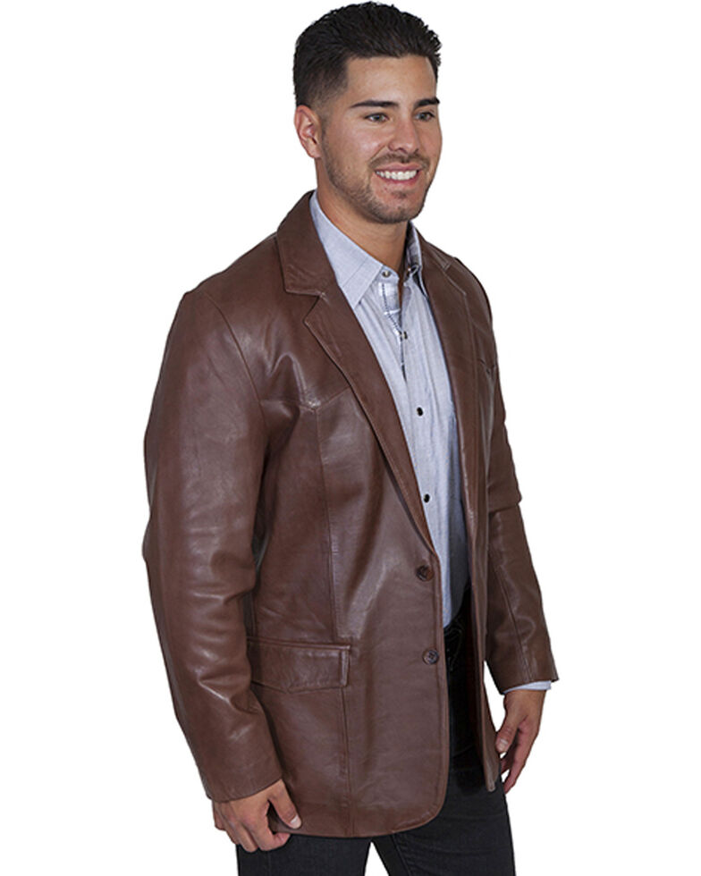 Scully Men's Lamb Leather Blazer - Big and Tall , Chocolate, hi-res