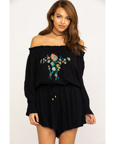 Wrangler Women's Retro Floral Embroidery Off Shoulder Romper, Black, hi-res