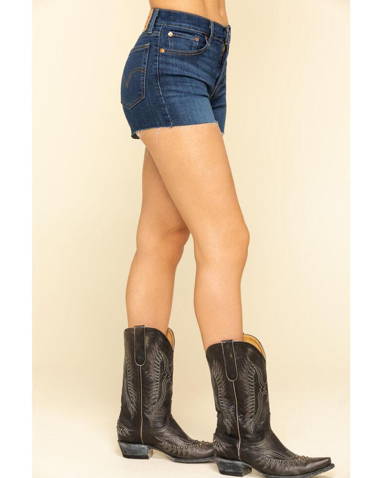 Levi's Women's High Rise Dark Wash Raw Hem Shorts, Blue, hi-res
