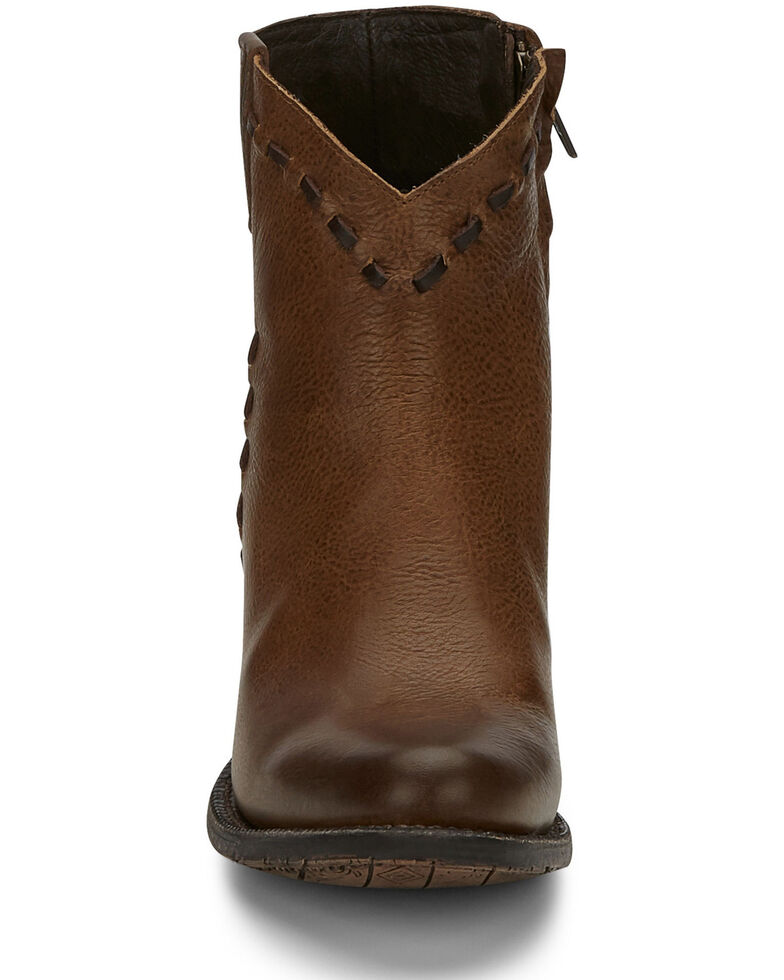 Tony Lama Women's Anahi Buckstitch Fashion Booties - Round Toe, Brown, hi-res