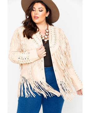 Liberty Wear Studded Leather Fringe Jacket - Plus, Cream, hi-res