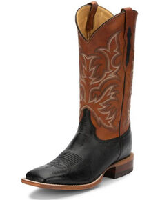 Justin Men's Pascoe Black Smooth Ostrich Western Boots - Wide Square Toe, Black, hi-res