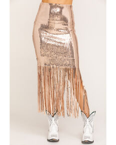 Chrysanthemum Women's Fringe Sequin Skirt, Light Pink, hi-res