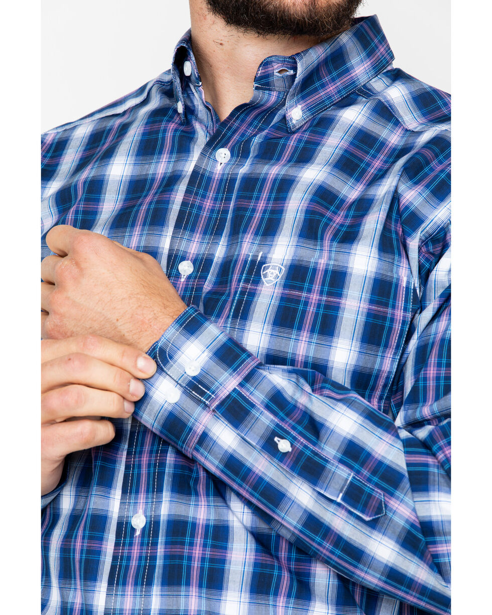 Ariat Men's Achman Plaid Long Sleeve Western Shirt, Blue, hi-res