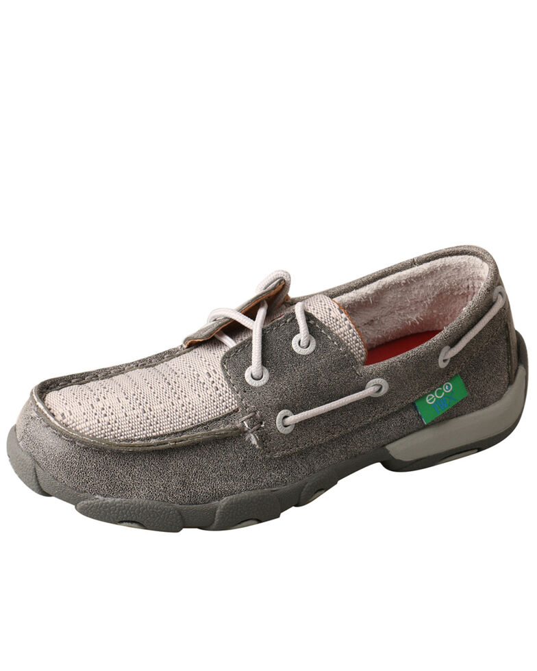Twisted X Youth Boys' Boat Shoes - Moc Toe, Light Grey, hi-res