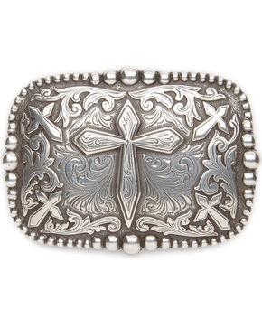 Cody James® Men's Cross Rectangle Belt Buckle, Silver, hi-res
