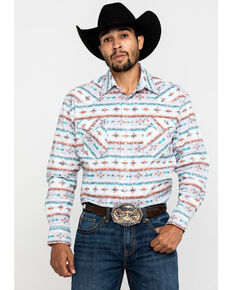 Rough Stock By Panhandle Men's Del Lago Aztec Print Long Sleeve Western Shirt , Light Grey, hi-res