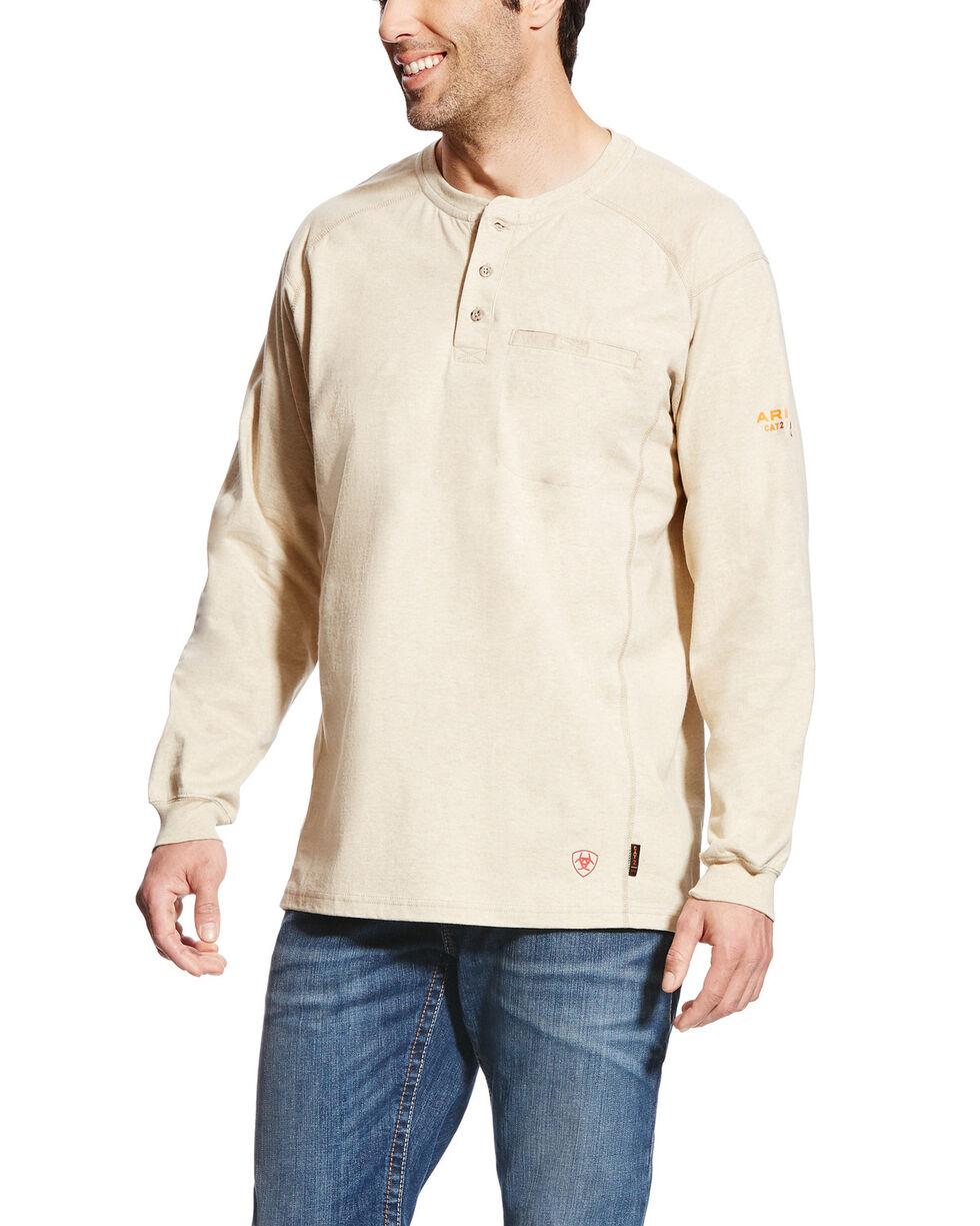 Ariat Men's Sand FR Air Henley Long Sleeve Work Shirt , Sand, hi-res