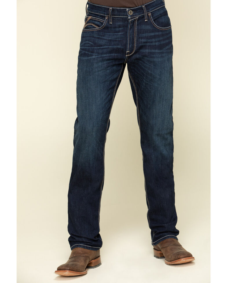 Ariat Men's M4 Roth Dark Stretch Low Stackable Relaxed Straight Jeans , Blue, hi-res