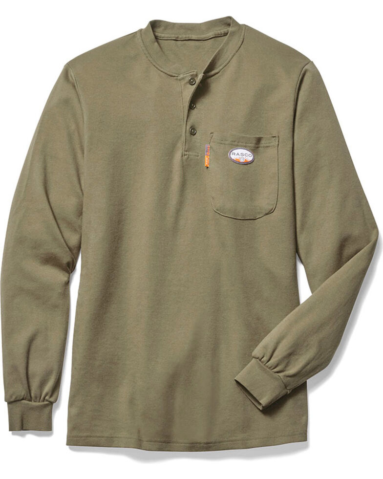 Rasco Men's Flame Resistant Long Sleeve Work Henley, Beige/khaki, hi-res