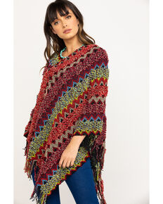 White Label by Panhandle Women's Twist Yarn Stripe Sweater Poncho, Multi, hi-res