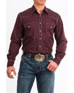 Cinch Men's Dotted Geo Print Long Sleeve Western Shirt , Burgundy, hi-res
