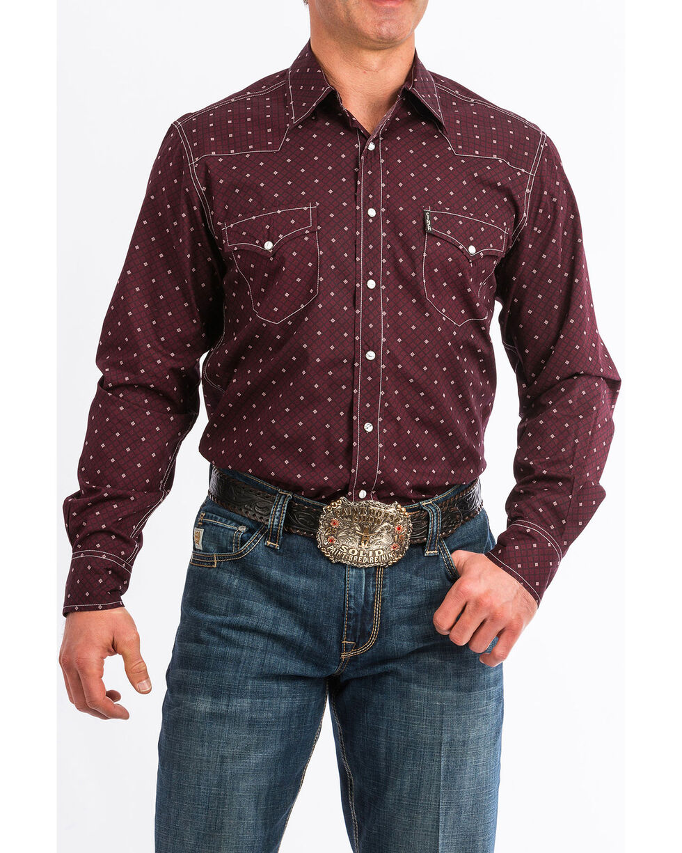 Cinch Men's Dotted Geo Print Long Sleeve Western Shirt , Burgundy, hi-res