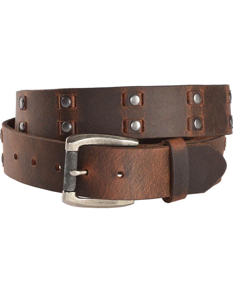 Cody James Leather Laced Studded Belt, Brown, hi-res