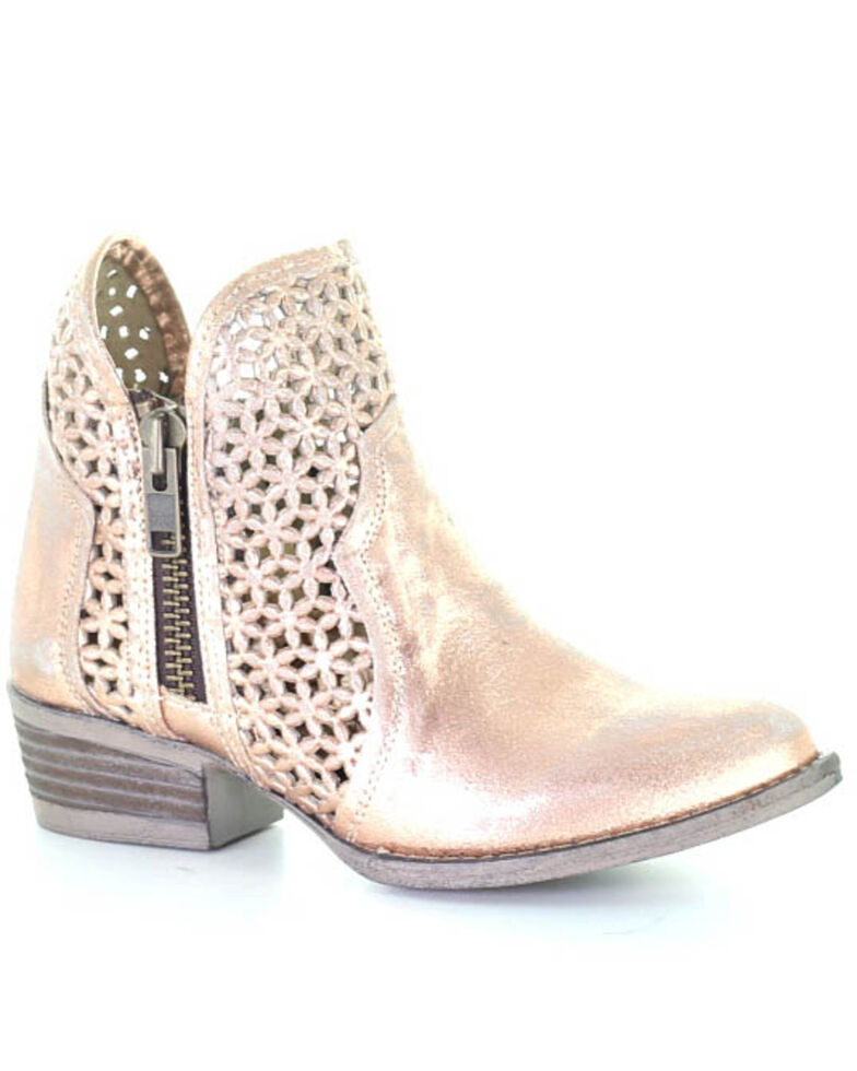 Circle G Women's Pink Gold Cut Out Fashion Booties - Round Toe, Gold, hi-res