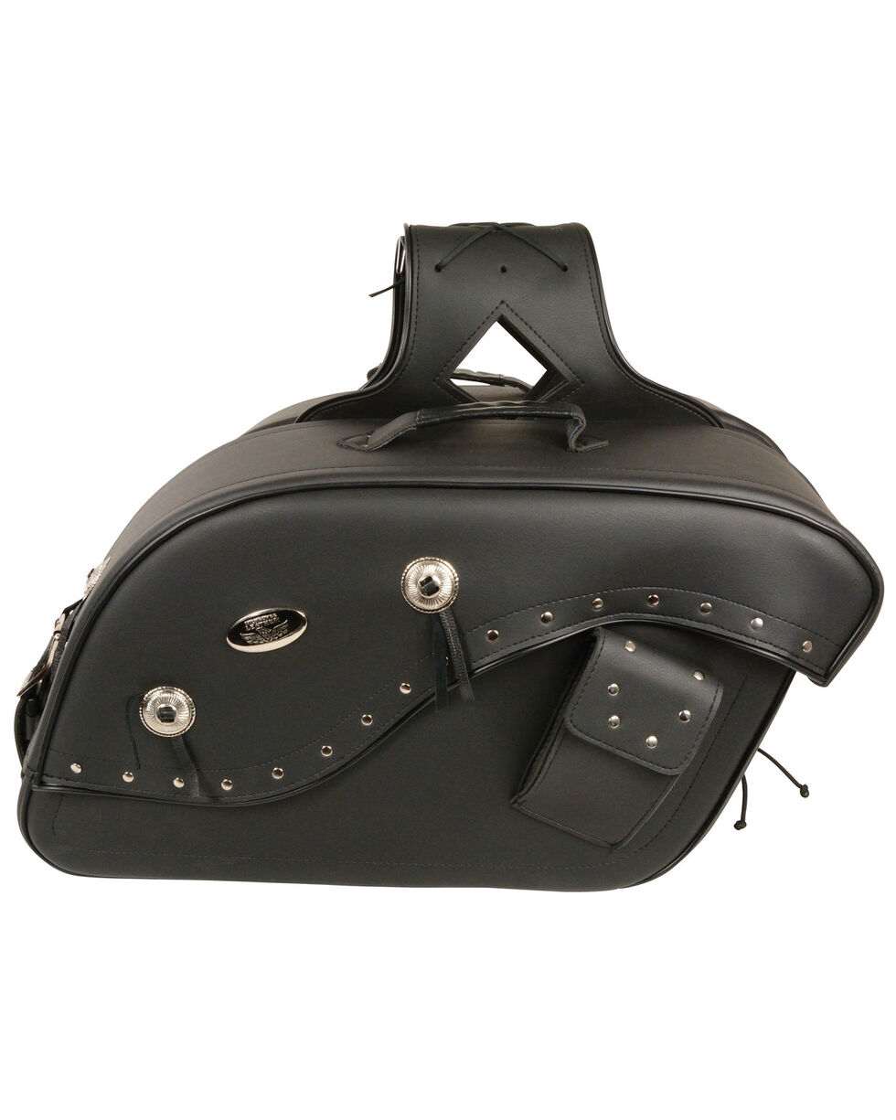 Milwaukee Leather Cruiser Riveted Saddle Bag , Black, hi-res