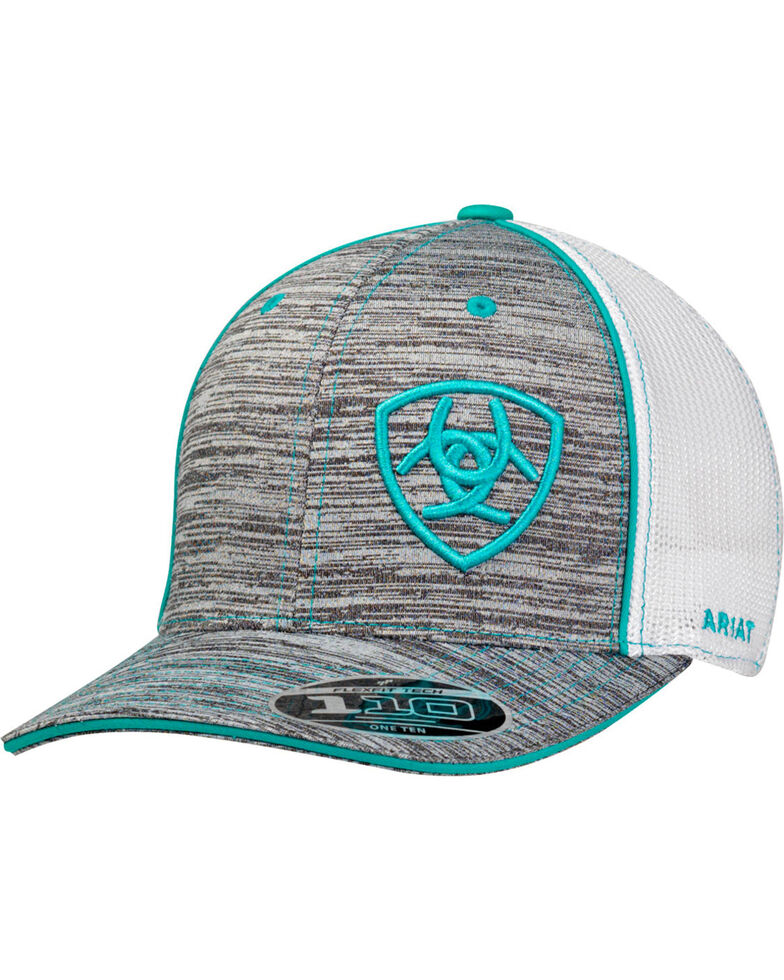 Ariat Men's Turquoise Offset Heather Shield Patch Ball Cap, Heather Grey, hi-res