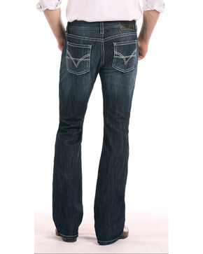 Rock & Roll Cowboy Men's Denim Reflex Pistol Large Curved Boot Jeans, Dark Blue, hi-res