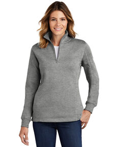 Sport Tek Women's Vintage Heather 3X 1/4 Zip Front Work Pullover - Plus, Grey, hi-res