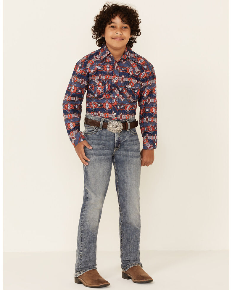 Rock & Roll Denim Boys' Light Vintage Revolver Stretch Regular Straight Jeans, Indigo, hi-res