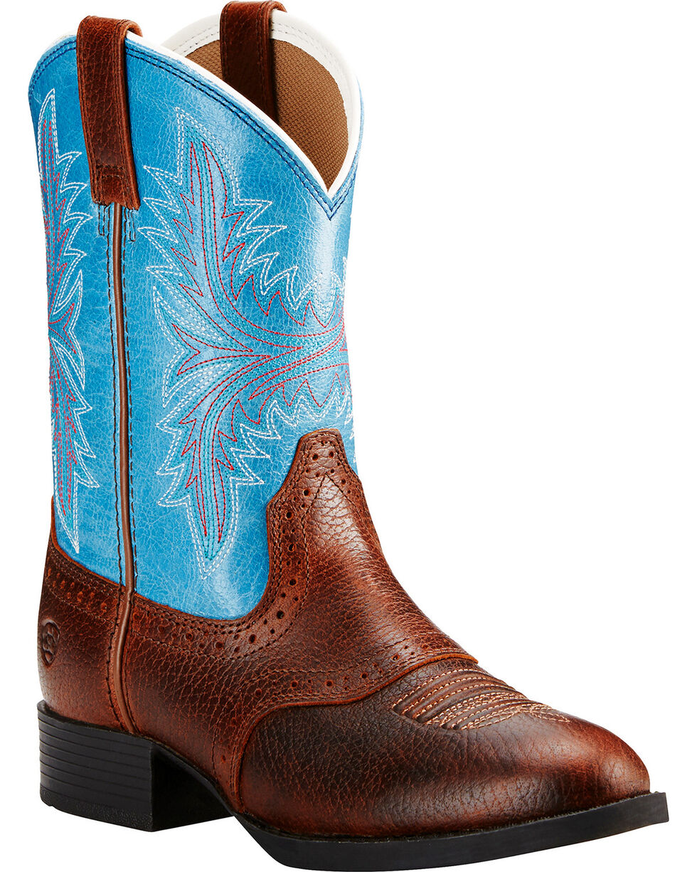 Ariat Kids' Heritage Hackamore Western Boots, Dark Brown, hi-res