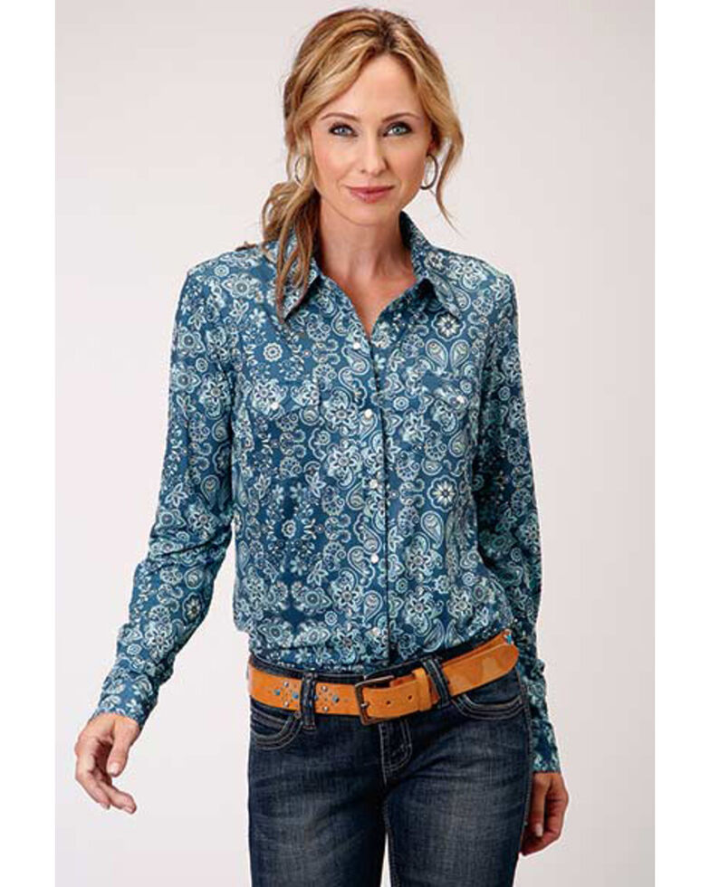 Studio West Women's Blue Floral Long Sleeve Western Shirt, Blue, hi-res