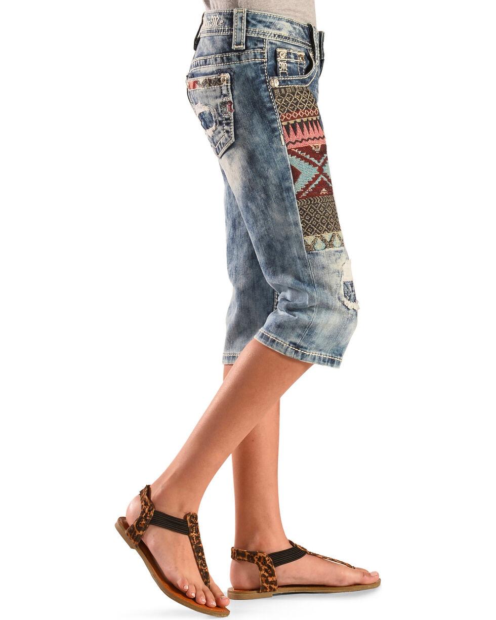 Miss Me Girls' Dainty Heart Capri Jeans, Indigo, hi-res