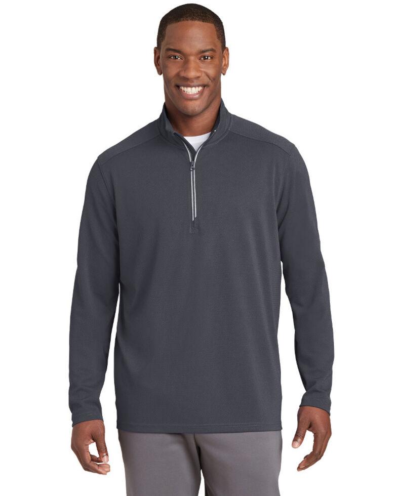 Sport Tek Men's Sport Wick Textured 1/4 Zip Pullover Work Sweatshirt , Grey, hi-res