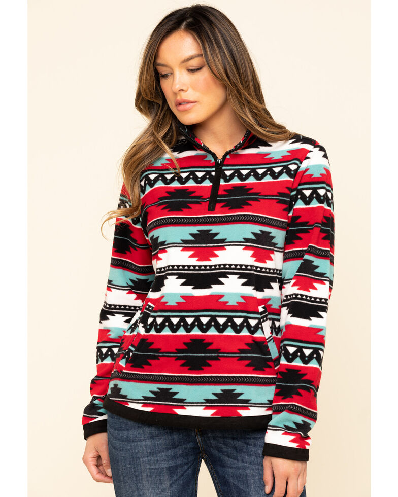 Outback Trading Co. Women's Red Aztec Kate Henley Pullover , Red, hi-res