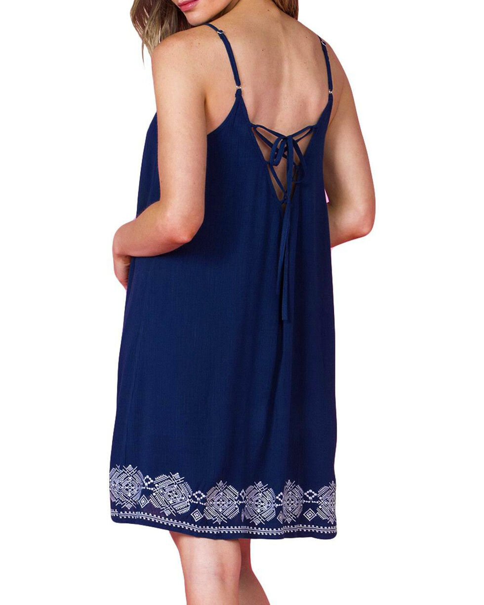 Miss Me Women's Embroidered Sundress, Navy, hi-res