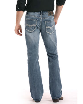 Rock & Roll Cowboy Men's Ivory Zigzag Bootcut Jeans, Medium Blue, hi-res