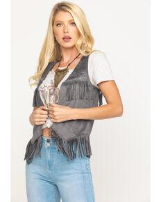 Idyllwind Women's Fringe N Faux Suede Vest, Charcoal, hi-res