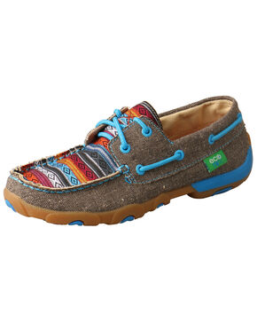 Twisted X Women's Serape Driving Moccasins - Moc Toe, Grey, hi-res