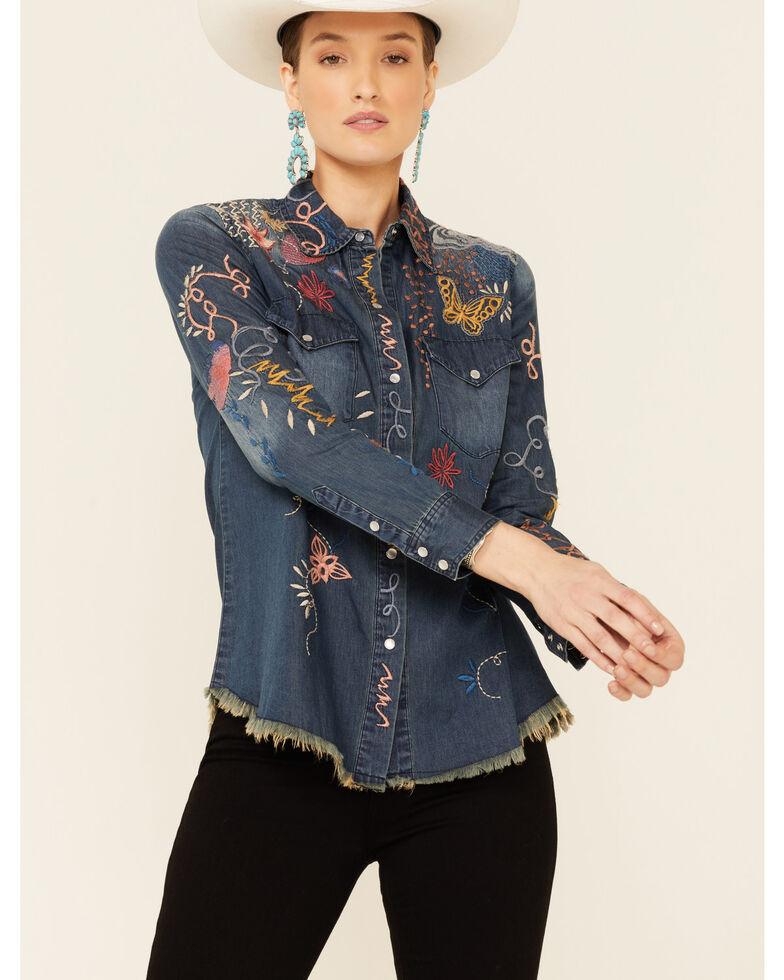 Johnny Was Women's Blue Carmen Frayed Westward Long Sleeve Snap Western Denim Shirt , Indigo, hi-res