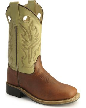 Old West Children Boys' Rust Calfskin Cowboy Boots - Square Toe, Rust, hi-res
