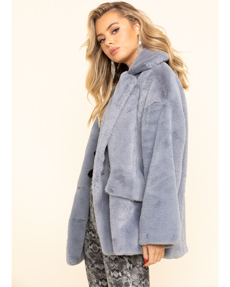 Free People Women's Wine Kate Faux Fur Coat, Slate, hi-res