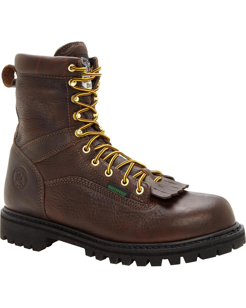 Georgia Men's Waterproof Steel Toe Logger Boots, Chocolate, hi-res