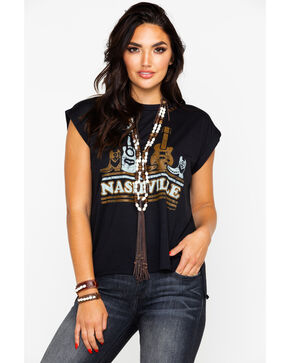 Bohemian Cowgirl Women's Updown Nashville Rolled Sleeve Graphic Tee , Black, hi-res