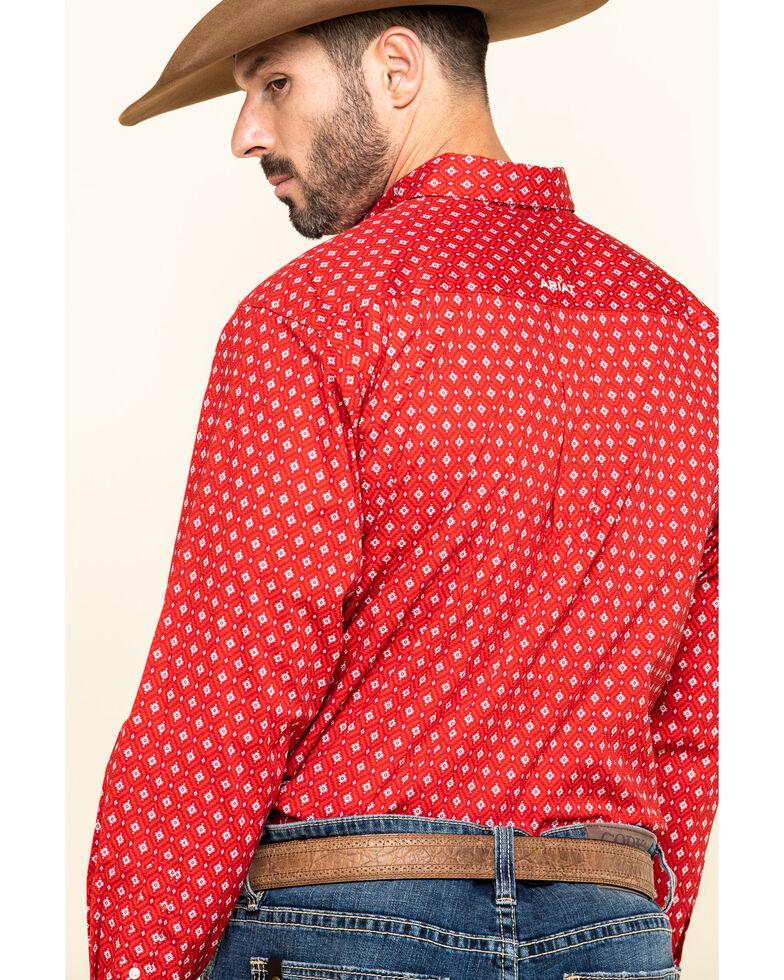 Ariat Men's Nelton Stretch Aztec Geo Print Long Sleeve Western Shirt , Red, hi-res