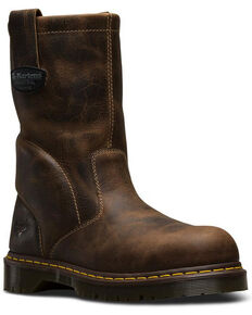 Dr. Martens Men's Steel Toe Wellington Work Boots, Brown, hi-res