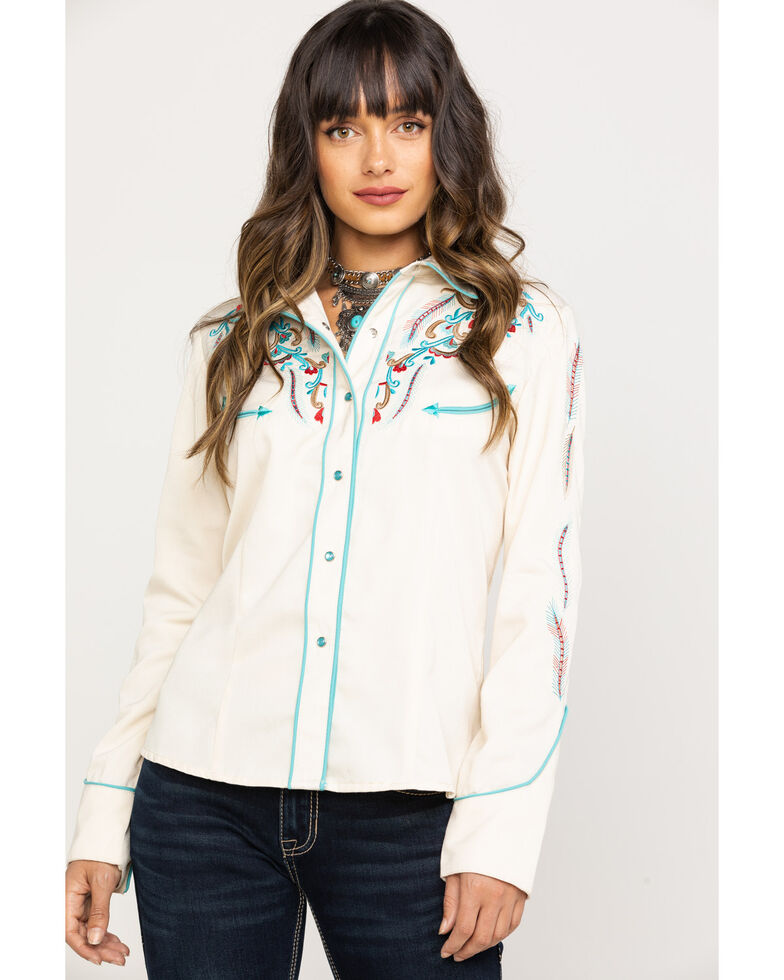 Scully Women's Multi-Color Embroidered Rodeo Long Sleeve Western Shirt , Cream, hi-res